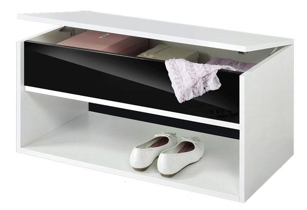 Schuhbank garderoben paneele flur wei schwarz hochglanz for Flur garderoben paneele