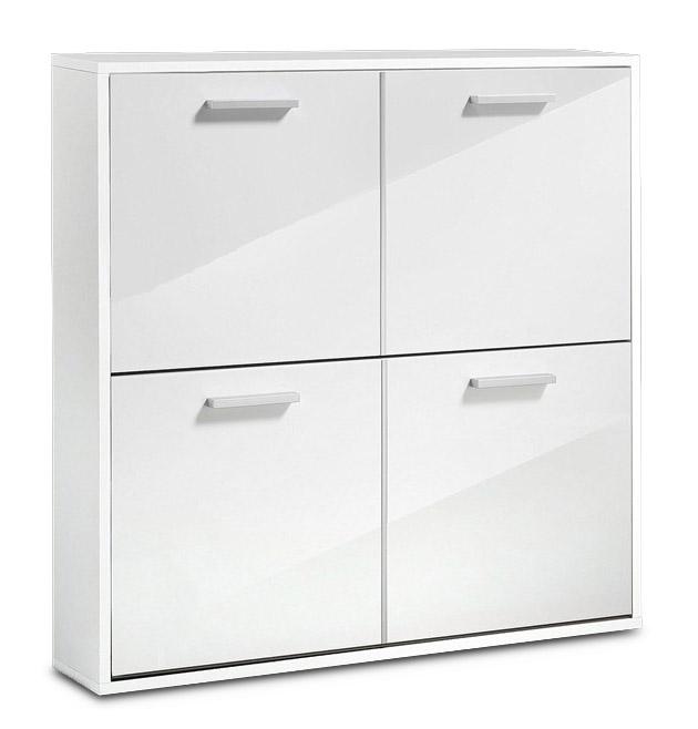 schuhschrank garderobe wei hochglanz 4 klappen neu 402486 17b ebay. Black Bedroom Furniture Sets. Home Design Ideas