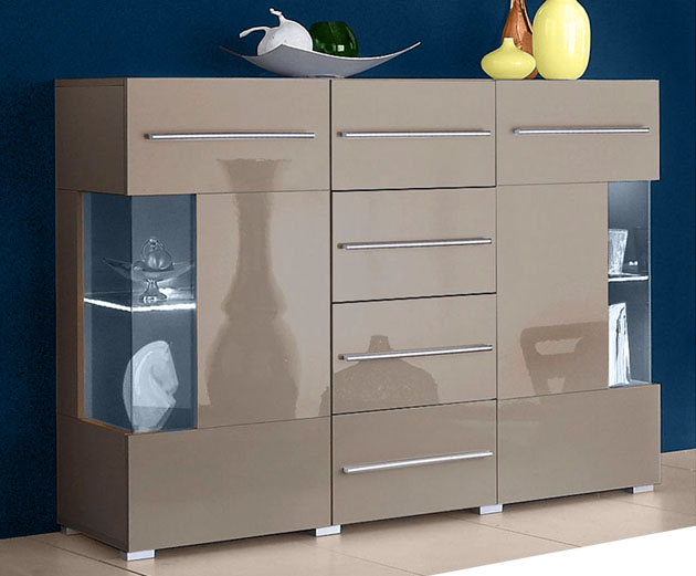 sideboard wohnzimmer flur schrank cappuccino hochglanz neu 402615 111a 2 2e ebay. Black Bedroom Furniture Sets. Home Design Ideas