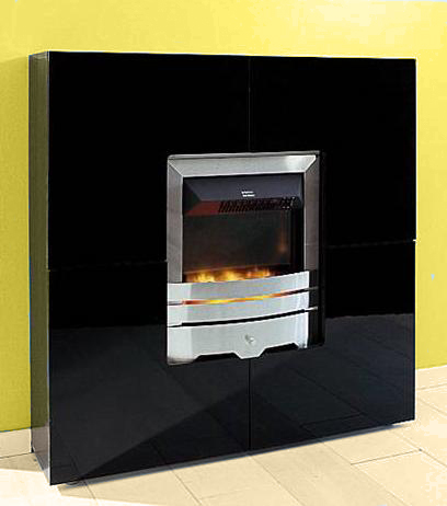 elektrokamin highboard schrank wohnzimmer schwarz. Black Bedroom Furniture Sets. Home Design Ideas