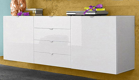 sideboard h ngend schrank wohnzimmer flur wei hochglanz. Black Bedroom Furniture Sets. Home Design Ideas