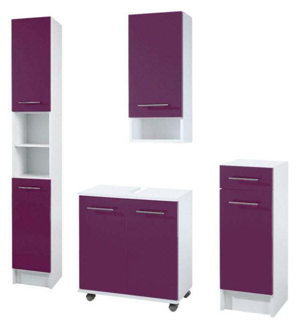 badm bel set 4 tlg badezimmer schrank lila glanz wei 716441 28 9b 35a. Black Bedroom Furniture Sets. Home Design Ideas