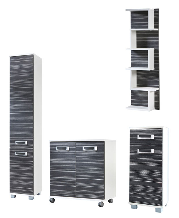badm bel set 4 tlg badezimmer schrank wei zebrino grau neu 789448 30a ebay. Black Bedroom Furniture Sets. Home Design Ideas
