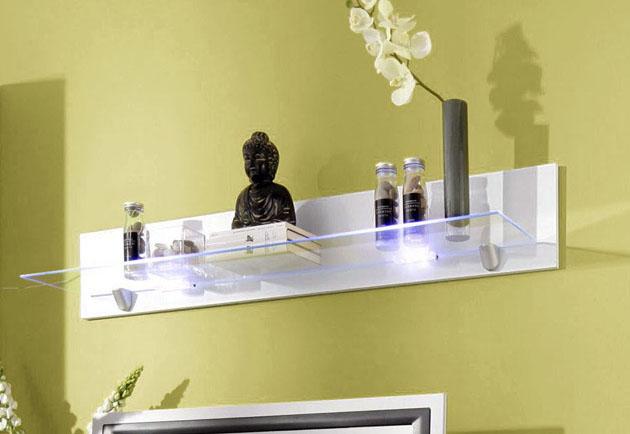 wandbord wandregal regal wohnzimmer wei glas neu 838709 70a ebay. Black Bedroom Furniture Sets. Home Design Ideas