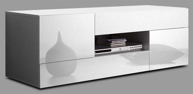 tv lowboard wohnzimmer wei hochglanz 120 cm 845543 113a. Black Bedroom Furniture Sets. Home Design Ideas