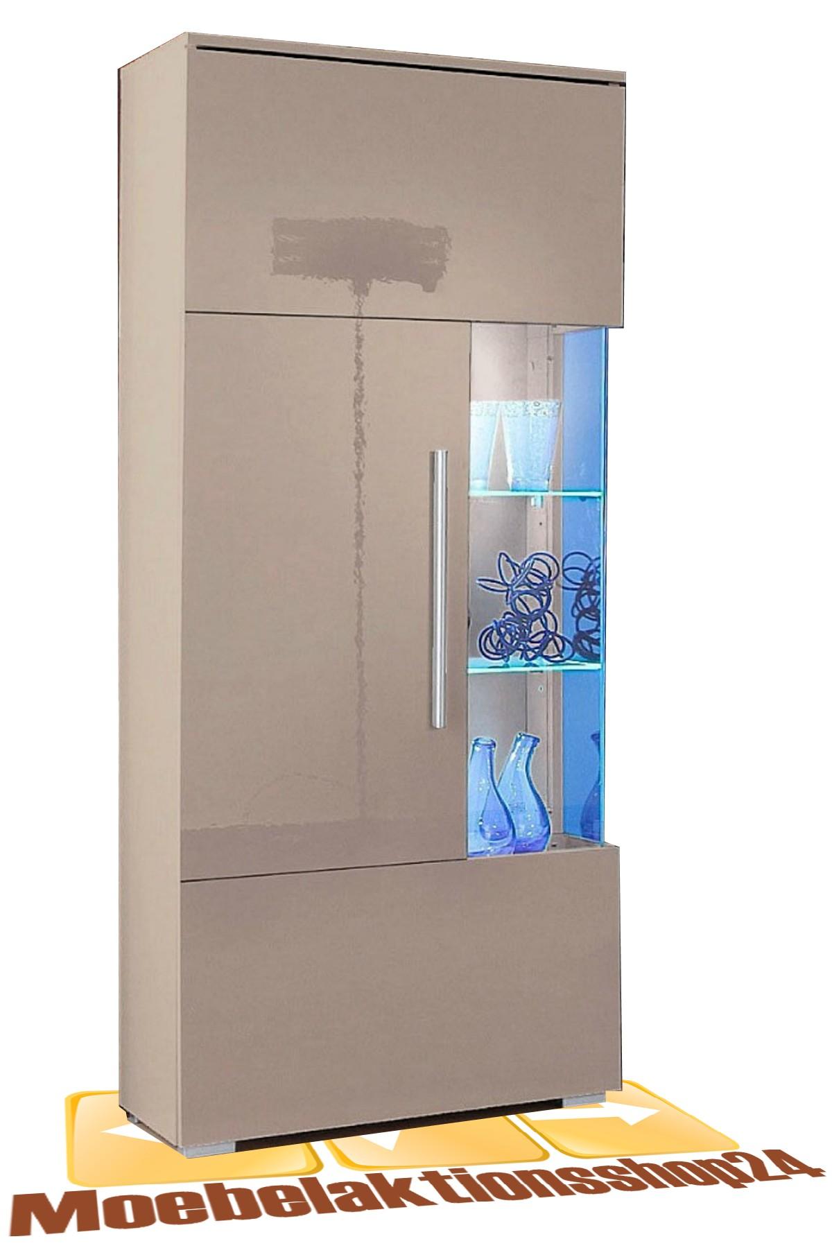 vitrine wohnwand wohnzimmer cappuccino hochglanz neu 398663 64a 65a 23 77a ebay. Black Bedroom Furniture Sets. Home Design Ideas