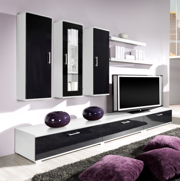 moderne wohnwand anbauwand wei schwarz hochglanz ebay. Black Bedroom Furniture Sets. Home Design Ideas